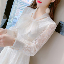 Dress Spring 2021 Picture color S M L XL Short skirt singleton  Long sleeves commute V-neck High waist Solid color zipper A-line skirt routine Others 25-29 years old Type A Manlin Korean version Lace bandage three-dimensional decoration stitching bowknot pleated lace More than 95% Lace other