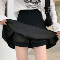 skirt Spring 2021 S M L XL Black and white Short skirt commute High waist Pleated skirt Solid color Type A 25-29 years old More than 95% Manlin other Asymmetric zipper stitching fold 3D decoration Korean version Other 100%