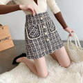 skirt Spring 2021 S M L XL Black Khaki Short skirt commute High waist A-line skirt lattice Type A 25-29 years old More than 95% Wool Manlin other Button stitched 3D open line decorative pocket Korean version Other 100% Pure e-commerce (online only)