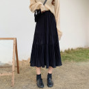 skirt Spring 2021 S M L XL Elegant black off white coffee Mid length dress commute High waist A-line skirt Solid color Type A 18-24 years old More than 95% Manlin other Pleated line decoration Korean version Other 100% Pure e-commerce (online only)
