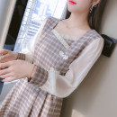 Dress Spring 2021 S M L XL Mid length dress singleton  Long sleeves commute square neck middle-waisted lattice Socket Pleated skirt bishop sleeve Others 25-29 years old Type A Manlin Korean version More than 95% other other Other 100% Pure e-commerce (online only)