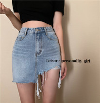skirt Summer 2021 S,M,L blue Short skirt commute High waist High waist skirt Solid color Type A 18-24 years old 71% (inclusive) - 80% (inclusive) Denim Other / other other Korean version