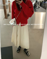 skirt Winter 2020 S, M Off white, black longuette commute High waist A-line skirt Solid color Type A 18-24 years old polyester fiber Button