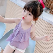suit gij Purple suspender hem shorts suit white suspender dress 90cm 100cm 110cm 120cm 130cm female summer Korean version Sleeveless + pants 2 pieces Thin money There are models in the real shooting Socket nothing Solid color Cotton blended fabric Expression of love Suspender hem shorts suit 0317