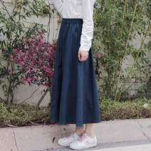 skirt Autumn of 2018 S,M,L,XL,2XL longuette Versatile Natural waist Solid color 18-24 years old 71% (inclusive) - 80% (inclusive) cotton