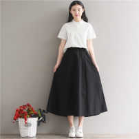 skirt Summer 2017 S,M,L,XL Black, Navy, stand collar short sleeve shirt, V-neck short sleeve shirt longuette commute Natural waist A-line skirt Solid color 18-24 years old 81% (inclusive) - 90% (inclusive) cotton literature