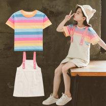 Dress Picture color female Holy Land Anna 110cm 120cm 130cm 140cm 150cm 160cm Other 100% summer leisure time Short sleeve stripe other A-line skirt THXZ-X-103 Summer 2020