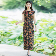 cheongsam Summer 2020 S M L XL XXL XXXL Decor - 120 long decor - 130 long Short sleeve long cheongsam Retro High slit daily Round lapel Decor Over 35 years old Piping Moon Chinese Classics silk Mulberry silk 100% Pure e-commerce (online only) 96% and above