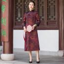 cheongsam Spring 2021 S M L XL XXL XXXL XXXXL Decor three quarter sleeve long cheongsam Retro High slit daily Decor Over 35 years old Zixuan Chinese Classics silk Mulberry silk 100% Pure e-commerce (online only) 96% and above