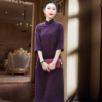 cheongsam Spring of 2019 S M L XL XXL XXXL Blue - no lining red - no lining purple - no lining black - no lining red - silk lining purple - silk lining black - silk lining three quarter sleeve long cheongsam Retro High slit daily Oblique lapel Decor Over 35 years old Piping Poetry and distance silk