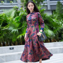 cheongsam Autumn 2016 S M L XL XXL XXXL Decor three quarter sleeve long cheongsam Retro No slits daily Decor Over 35 years old Piping Passing scenery Chinese Classics silk Mulberry silk 90% polyurethane elastic fiber (spandex) 10% Pure e-commerce (online only) 96% and above