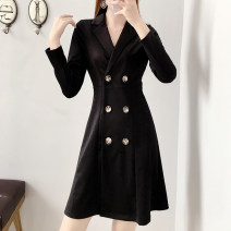 Women's large Spring 2021 black S [recommended 80-98 kg], m [recommended 100-108 kg], l [recommended 110-120 kg], XL [recommended 120-140 kg], 2XL [recommended 140-160 kg], 3XL [recommended 160-180 kg], 4XL [recommended 180-200 kg] Dress singleton  commute Self cultivation moderate Cardigan Ol style