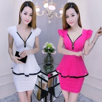 Dress Summer 2020 L,XL,M,S Short skirt singleton  Short sleeve commute V-neck middle-waisted Solid color Ruffle Skirt Flying sleeve Others 18-24 years old Type H