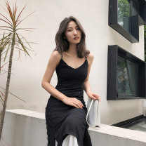 Dress Summer 2021 black S,M,L,XL longuette Fake two pieces Sleeveless Sweet V-neck middle-waisted Solid color Socket Irregular skirt camisole 31% (inclusive) - 50% (inclusive) Chiffon Bohemia