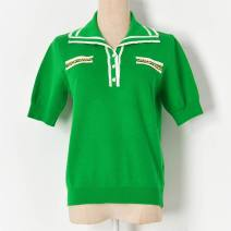 Wool knitwear Spring 2020 S,M,L Emerald green, black, white Short sleeve Socket nylon More than 95% Regular commute Self cultivation other routine Ol style