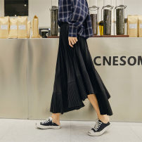skirt Spring of 2019 Average size black Mid length dress Versatile High waist Solid color Type A 18-24 years old Other / other