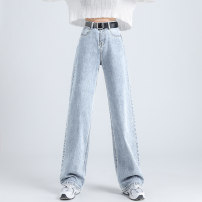 Jeans Summer 2021 White nine, white pants, white pants, light blue nine, light blue pants, light blue pants, Retro Blue nine, retro blue pants, retro blue pants XS,S,M,L,XL Wash, flanging, zipper, button, multi pocket, others Dark color
