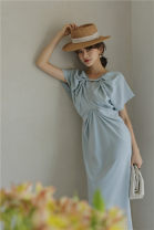 Dress Summer 2020 Premium blue S,M,L longuette singleton  Short sleeve commute Crew neck High waist Solid color A-line skirt raglan sleeve 25-29 years old Type A fold 0119#