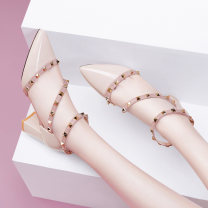 Sandals 34 35 36 37 38 39 40 White Beige PU Leica Kington Baotou Thick heel High heel (5-8cm) Summer 2021 Flat buckle grace Solid color Adhesive shoes Youth (18-40 years old) TPU daily Bag heel Low Gang Hollow PU PU Fashion sandals Patent leather Pure e-commerce (online only)
