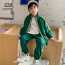 suit Lovell Black and green first collection and then purchase priority delivery 110cm 120cm 130cm 140cm 150cm 160cm male spring and autumn motion Long sleeve + pants 2 pieces Thin money There are models in the real shooting Zipper shirt nothing other cotton children Expression of love TZL1012