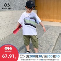 suit Lovell White [Collection + shopping cart] [enjoy tmall quality] 110cm 120cm 130cm 140cm 150cm 160cm 170cm male summer leisure time Short sleeve + pants 2 pieces Thin money There are models in the real shooting Socket nothing other Cotton blended fabric children Expression of love TZL1287 Class B