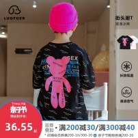 T-shirt Collection add shopping cart tmall quality buy worry free black white Lovell 110cm 120cm 130cm 140cm 150cm 160cm male summer Short sleeve Crew neck Korean version There are models in the real shooting nothing Pure cotton (100% cotton content) Cartoon animation Cotton 100% TXL1375 Class B