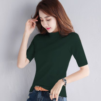 T-shirt S M L XL 2XL 3XL Spring 2020 elbow sleeve Half high collar Self cultivation Regular routine commute cotton 96% and above 18-24 years old Korean version classic Solid color run into sb. yyy11111 Solid color Cotton 96% polyurethane elastic fiber (spandex) 4% Pure e-commerce (online only)