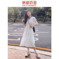 Dress Spring 2021 white S M L Mid length dress singleton  Short sleeve commute V-neck High waist Solid color Socket Big swing routine Others 18-24 years old Type A Hstyle / handu clothing house Korean version More than 95% polyester fiber Polyester 100% Pure e-commerce (online only)