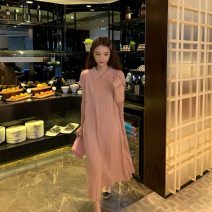 Women's large Summer 2020, spring 2020 Pink dress (quality version), black dress (quality version), apricot dress (quality version) Large XL, large XXL, large L, M singleton  commute easy moderate Socket Short sleeve Solid color Korean version Polo collar Medium length Polyester, cotton routine