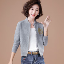 short coat Spring of 2019 S M L XL XXL Black grey Navy Pink Long sleeves routine routine singleton  Straight cylinder routine Half open collar zipper Solid color Good girl 31% (inclusive) - 50% (inclusive) Threaded zipper polyester fiber Viscose (viscose) 52% polyester 31% polyamide (nylon) 17%