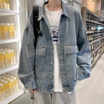 Jacket Go further Youth fashion wathet M L XL 2XL routine easy Other leisure autumn X-J09205654C Cotton 75% other 25% Long sleeves Wear out Lapel tide teenagers Single breasted Cloth hem No iron treatment The appearance is loose and the inside is closed Solid color Denim Autumn 2020 cotton