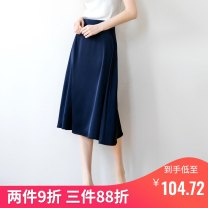 skirt Summer 2020 S M L XL Dark blue longuette commute High waist A-line skirt Solid color 25-29 years old 19020-2 More than 95% Angelstamp / Angel mark polyester fiber zipper Polyester 100%