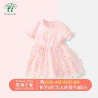 Dress female Melodious home 80cm 90cm 100cm 110cm 120cm 130cm Cotton 95% polyurethane elastic fiber (spandex) 5% summer princess Short sleeve cotton Summer 2020 12 months, 18 months, 2 years old, 3 years old, 4 years old, 5 years old, 6 years old
