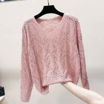 Wool knitwear Spring 2020 S M L XL Pink light purple fruit green white red yellow Long sleeves singleton  Socket other More than 95% Regular Thin money commute easy V-neck Bat sleeve Solid color Socket Korean version JML200322-9 25-29 years old Jianmanlian Gouhua hollowed out thread flower wave