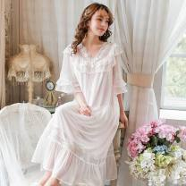 Nightdress Other / other Light purple, Princess Pink, fairy white, fresh blue 155 (s), 160 (m), 165 (L), one size fits all Sweet Short sleeve Leisure home longuette summer Solid color youth V-neck cotton More than 95% Modal gauze