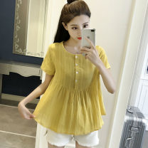 shirt S,M,L,XL,2XL,3XL Summer 2021 cotton 91% (inclusive) - 95% (inclusive) Short sleeve commute Regular Crew neck Socket routine Solid color High waist type Other / other Korean version Tuck, fold, button Cotton and hemp