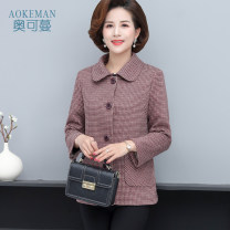 Middle aged and old women's wear Autumn of 2019 Red (regular) grey (regular) XL [recommended 95-110 kg] 2XL [recommended 110-120 kg] 3XL [recommended 120-130 kg] 4XL [recommended 130-140 kg] 5XL [recommended 140-155 kg] leisure time Jacket / jacket easy singleton  lattice 40-49 years old Cardigan