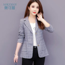 Middle aged and old women's wear Autumn of 2019 Grey black leisure time Jacket / jacket Straight cylinder singleton  lattice 40-49 years old Cardigan moderate V-neck Medium length (length 50-70cm) routine D487 Okman Button Lycra Lycra 30% and below Exclusive payment of tmall Single row two buttons
