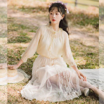 shirt Apricot , white , blue , green , Design and color , Big white , Brown apricot S,M,L Spring 2021 other 91% (inclusive) - 95% (inclusive) Long sleeves commute Regular Lotus leaf collar Socket Wrap sleeves Solid color literature bow , Ruffles , Frenulum , fungus , Bandage