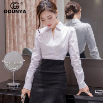 shirt white S M L Fall 2017 cotton 51% (inclusive) - 70% (inclusive) Long sleeves commute Regular V-neck Socket shirt sleeve Solid color 25-29 years old Self cultivation Gounya / grenza Korean version GS7725 Pleated button Cotton 65.1% polyester 34.9% Pure e-commerce (online only)