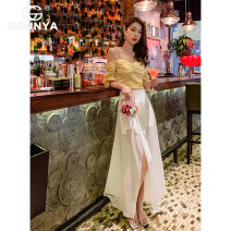 skirt Summer 2020 S M L Black and white Mid length dress commute High waist A-line skirt Solid color Type A 25-29 years old X20306961 More than 95% Gounya / grenza polyester fiber zipper Korean version Polyester 100% Pure e-commerce (online only)