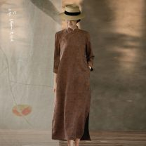 Dress Autumn 2020 Dark brown M,L,XL longuette singleton  Nine point sleeve commute stand collar Loose waist Decor other A-line skirt routine Others 35-39 years old Type A Know the brush and ink court pocket SR YU0040 More than 95% other silk