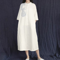 Dress Spring 2020 White, blue M, L longuette singleton  Long sleeves commute Half open collar Loose waist other Single breasted other routine Others 35-39 years old Type A Know the brush and ink Retro Pocket, button, print 51% (inclusive) - 70% (inclusive) brocade hemp
