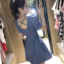 Dress Summer 2020 Blue, black, red S,M,L,XL Mid length dress singleton  Short sleeve commute square neck High waist Solid color Socket puff sleeve 18-24 years old Type A Korean version 30% and below