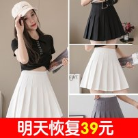 skirt Summer 2021 Xs, s, m, l, XL, 2XL, 3XL, one size fits all Black [no button], white [no button], dark grey [no button], grey [no button], pink [no button], black (underpants), white (underpants) Short skirt commute High waist Pleated skirt Solid color Type A 18-24 years old A16 other