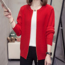 Women's large Autumn 2020 Red, pink L [90-115 kg], XL [120-140 kg], 2XL [140-160 kg], 3XL [160-180 kg], 4XL [180-200 kg] Knitwear / cardigan singleton  commute easy moderate Cardigan Long sleeves Simplicity routine Three dimensional cutting routine Zorana 2120 Other / other