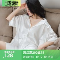 Pajamas / housewear set female Genie queen Average size white Polyester (polyester) Long sleeves sexy pajamas summer Thin money V-neck Solid color double-breasted youth More than 95% 220g Middle-skirt