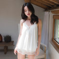Pajamas / housewear set female Genie queen M, L white Polyester (polyester) camisole sexy pajamas summer Thin money V-neck Solid color shorts Socket youth 2 pieces rubber string More than 95% Rayon 580-691 220g Short skirt