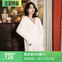 Pajamas / housewear set female Genie queen Average size Soft pink Polyester (polyester) Long sleeves sexy pajamas autumn routine V-neck Solid color double-breasted youth More than 95% It's soft One piece 220g Middle-skirt