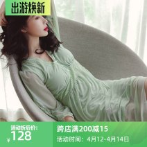 Pajamas / housewear set female Genie queen Average size Green, purple, pink Polyester (polyester) Long sleeves sexy pajamas autumn routine V-neck Solid color Socket youth More than 95% Modal + Lace lace 200g longuette